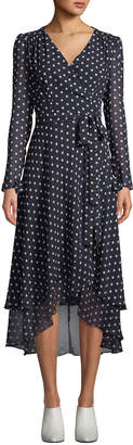 Betsey Johnson Polka-Dot Maxi Wrap Dress