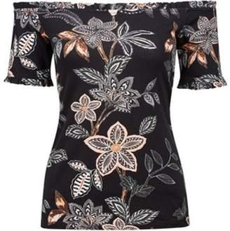 Dorothy Perkins Womens Black Floral Frill Bardot Top
