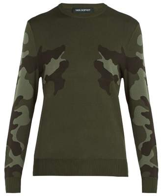 Neil Barrett Mirrored Camouflage Print Sweater - Mens - Khaki