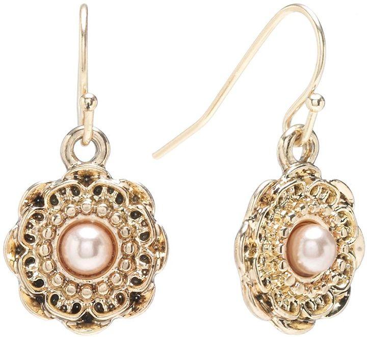 Lauren Conrad gold tone simulated pearl textured flower drop earrings