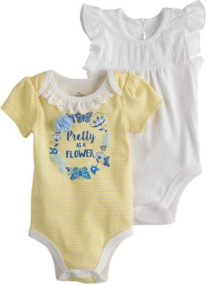 Baby Starters Baby Girl 2-pk. Embroidered Eyelet & Striped Graphic Bodysuits