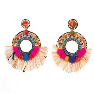 Ranjana Khan Beaded Raffia Statement Clip-On Earrings
