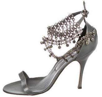 Manolo Blahnik Leather Chain-Link Sandals