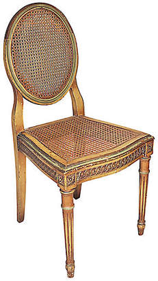 One Kings Lane Vintage Painted Caned Vanity Chair - House of Charm Antiques