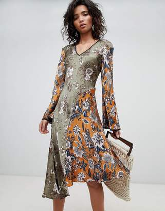Ghost mixed print long sleeve midi dress