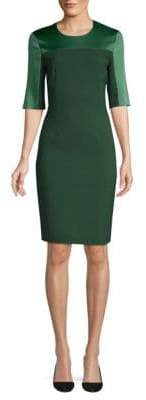 BOSS Danufa Stretch Wool Colorblock Sheath Dress