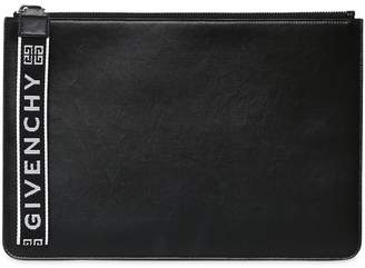 Givenchy Coated Canvas Pouch W/ Logo Zipper Pull