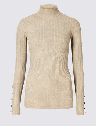 Marks and Spencer Ribbed Button Detail Funnel Neck Jumper