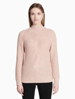 Calvin Klein cable knit mock neck sweater