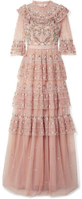 Needle & Thread Paradise Ruffled Embroidered Tulle Gown - Antique rose