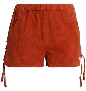 Maje Lace-Up Suede Shorts