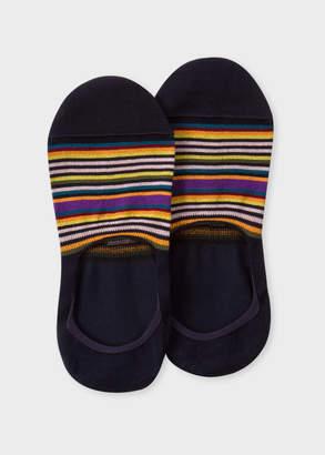 Paul Smith Women's Dark Navy Multi-Colour Striped Loafer Socks
