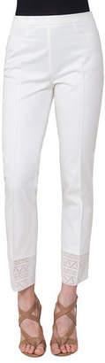 Akris Punto Lace-Trim Stretch-Cotton Pants, Taupe