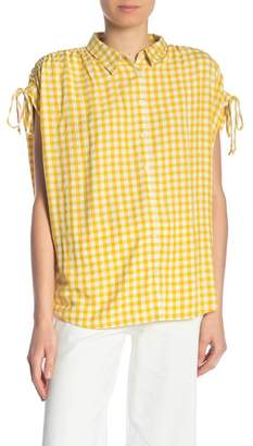 Madewell Gingham Check Ruched Sleeve Tee