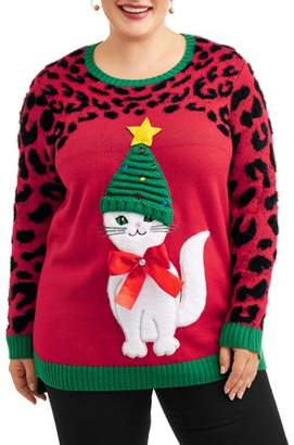 Holiday Time Women's Plus Slouchy Hat Kitty Christmas Sweater