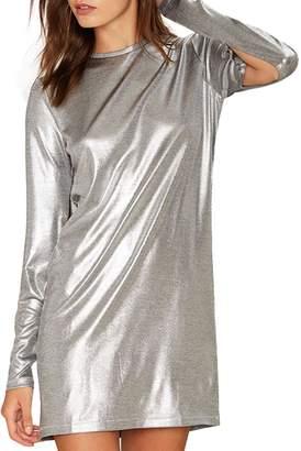 hodoyi Women Slit Side Long Sleeve Crewneck Straight Loose Mini Dress(XXL,)