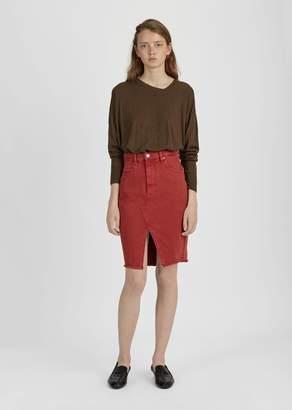 Etoile Isabel Marant Fadow High Waisted Denim Skirt Red