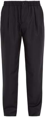 Pleated-front wool and cashmere-blend trousers