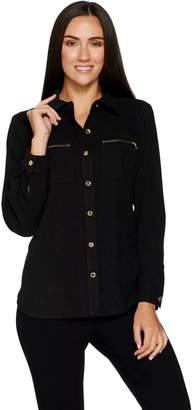 Bob Mackie Bob Mackie's Mole Skin Button Front Shirt with Zipper Pocket