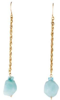 14K Amazonite & Aquamarine Drop Earrings