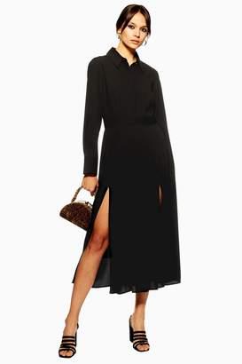 Topshop Pleated Midi Shirt Dress