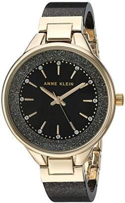 Anne Klein Women's AK/1408BKBK Swarovski Crystal Accented Gold-Tone and Black Shimmer Resin Bangle Watch