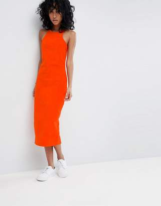 Asos Design DESIGN cord midi dress with racer neck in orange