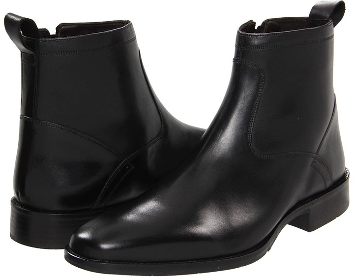 Johnston & Murphy Larsey Zip Boot (Black Italian Calfskin) - Footwear