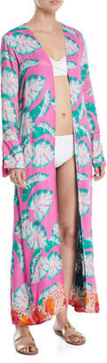 Lovers And Friends Ellis Palm-Print Open-Front Swim Coverup Robe