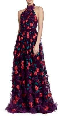 Marchesa Embellished Floral-Print Halter Dress