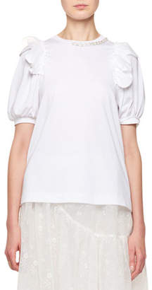Simone Rocha Crewneck Puff-Sleeve T-Shirt with Pearlescent Embroidery