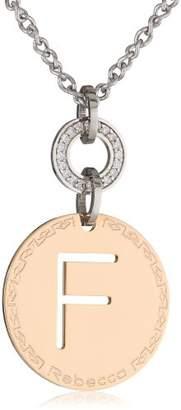 Rebecca Word Swarovski Crystals Rose Gold Over Bronze Letter F Pendant Necklace