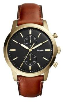 Fossil Dress Townsman Three Hand Stainless Steel and Leather Strap Quartz Watch