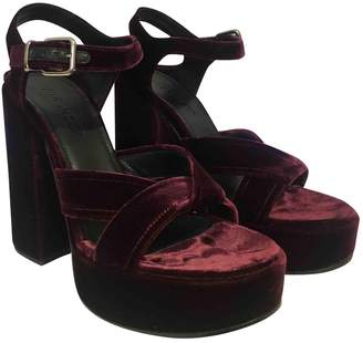 Jil Sander Burgundy Velvet Sandals