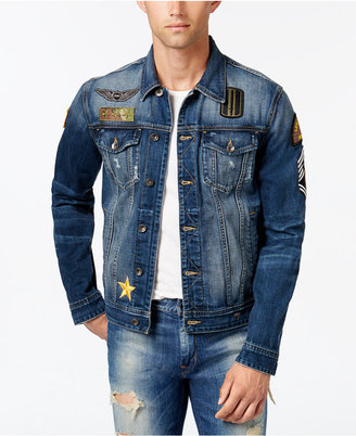 GUESS Men's Embroidered Denim Jacket $138 thestylecure.com