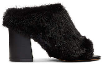 Givenchy Black Fur Paris Mules
