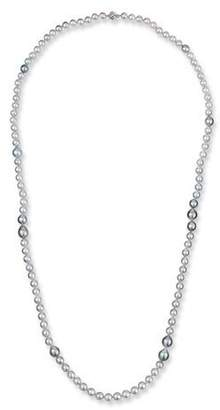 """BELPEARL 18k White Gold Long Silver, Blue & Gray Pearl Necklace, 40""""L"""