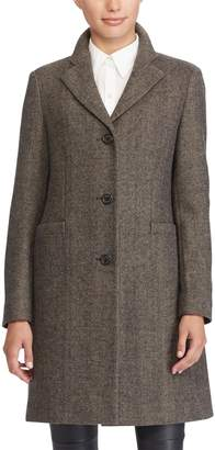 Lauren Ralph Lauren Herringbone Wool Blend Reefer Coat