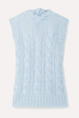 Prada Open-back Cable-knit Mohair-blend Sweater - Sky blue