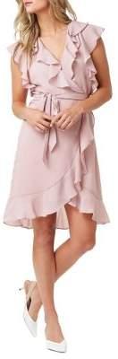 ABS by Allen Schwartz Collection Cap-Sleeve Chiffon Faux Wrap Dress