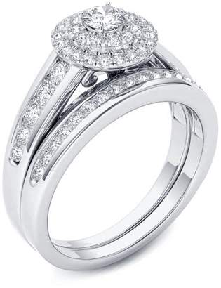 TVS-JEWELS 925 Sterling Silver Round Cut CZ Platinum Plated Women's Bridal Wedding Ring Set