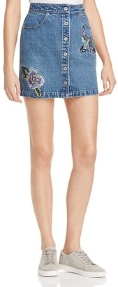 Honey Punch Embroidered Denim Skirt $48 thestylecure.com