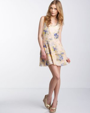 Juicy Couture Tea Rose Knotted-Racerback Dress