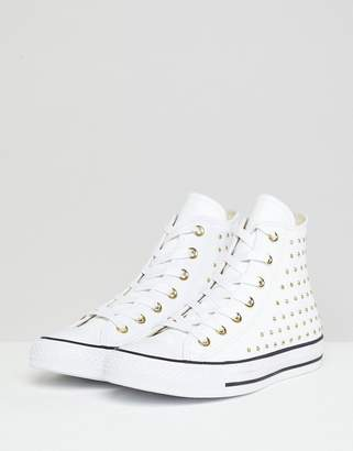Converse Chuck Taylor All Star leather studded hi trainers in white 6c0a75efd