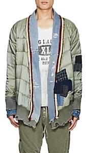 Greg Lauren Men's Patchwork Quilted Ripstop Kimono Jacket - Olive