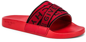 Givenchy Logo Webbing Slides in Red | FWRD