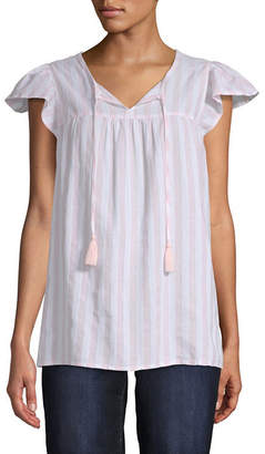 ST. JOHN'S BAY Womens Short Sleeve Peasant Top