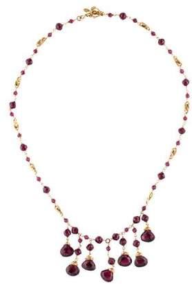 14K Garnet Bead Strand Necklace