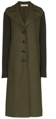Marni ribbed sleeve wool coat