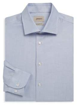 Giorgio Armani Modern-Fit Herringbone Dress Shirt